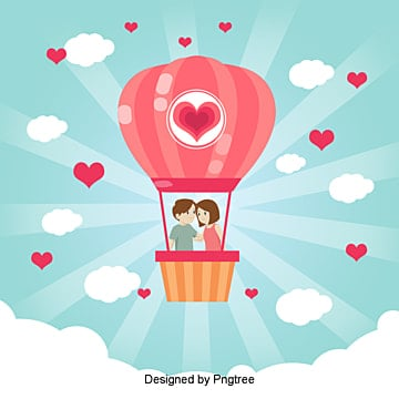 Couple vector illustration hot air balloon on, Heart, Hot Air Balloon, Husband And Wife PNG and Vector