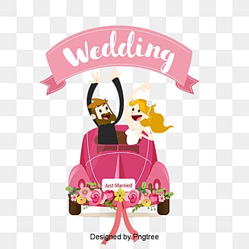 Cartoon wedding car background vector material, Cartoon Wedding Car, Cartoon Wedding Couple With Car, Couples With Wedding Car Cartoon Elements Png Free Download PNG and Vector