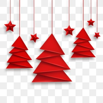 Vector origami Christmas tree and red stars, Greeting Cards, Star, Christmas Tree PNG and Vector