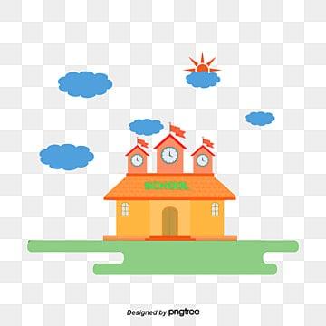 fba096808808 cartoon school building material png
