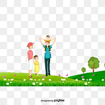 Happy family running grass, Happy Family, Meadow, Run PNG and PSD