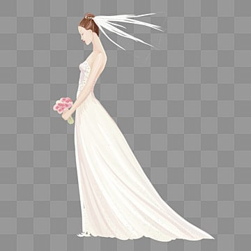 White Wedding Veil Dress Scarves PNG Image