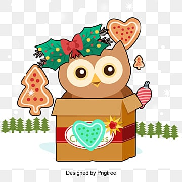 Gift box owl, Box, Animal, Bow Tie PNG and Vector