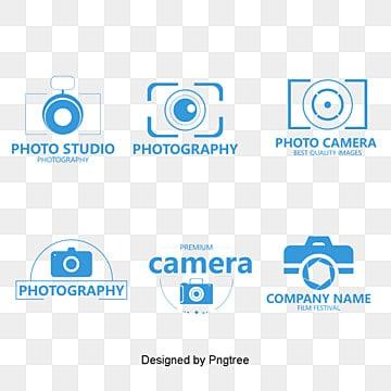 Lovely blue photography exhibition logo vector