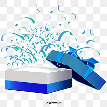 Open The Blue Gift Box Vector