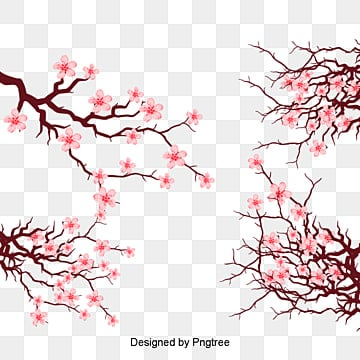 Vector Pink Japanese Elements Cherry Blossom Branches Dress Up Blossoms