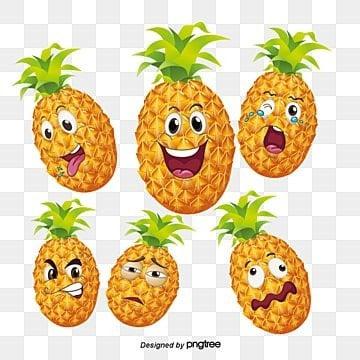 Cartoon Pineapple Expression Crying Face Tongue Show Off PNG And PSD