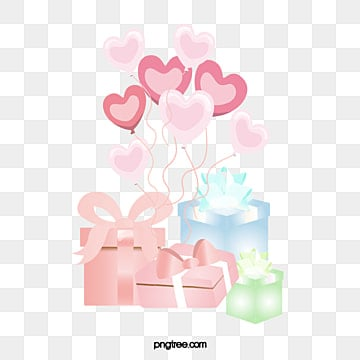 a gift   with a heart shaped balloon pepero day, Valentines, Gift, Valentines PNG and Vector