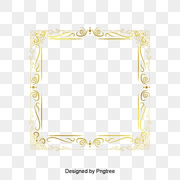 Square Four Corner Decorative Frame Vector Gold PNG And