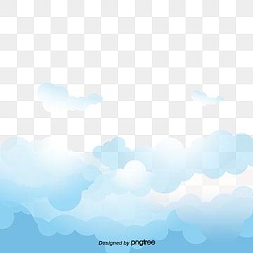 El cielo azul y las nubes blancas vector, Cielo, Acuarela, Tinta PNG y Vector