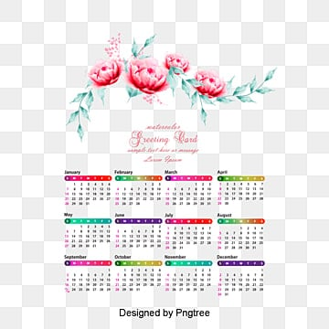 vector watercolor calendar template vector material 2018 png and psd