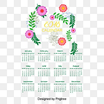 romantic hand painted flower calendar template, Vector, Material, Romantic PNG and PSD