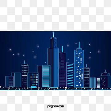 Ciudad Azul edificio vector, Azul, Edificio, Cielo Estrellado PNG y Vector