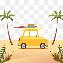 Summer beach on the beach of the car