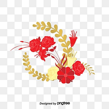 chinese style flower gold paper flowers, Chinese Style, Flower, Gold PNG and PSD