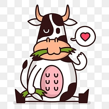 White Cartoon Cow, Cartoon Clipart, Cow Clipart, White PNG Image And Clipart