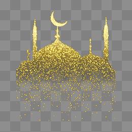 Golden star ornament Islamic architecture vector illustration