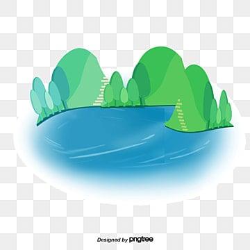 ручной росписью в сельских областях мультфильм озеро, речной клипарт, ручной вектор, мультфильм вектор PNG и PSD