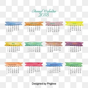 Modèle le calendrier aquarelle 2018, Calendrier De Bureau, Calendrier, 2018PNG et vecteur