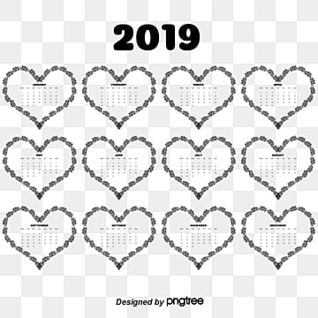 Heart of 2018 calendar templates, Calendar, Calendar, 2018 PNG and Vector