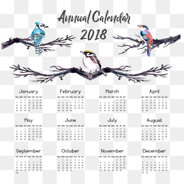 Watercolor hand-painted wind 2018 calendar templates