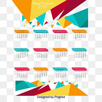 calendar templates 2018, Calendar, Single-page, Geometry PNG and PSD