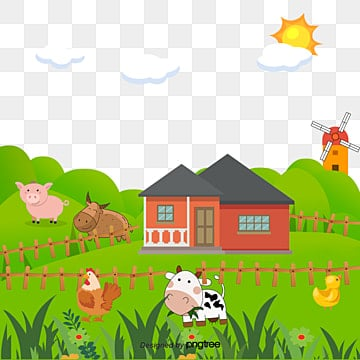 Cartoon Farm Clipart Hand Painted PNG Image And