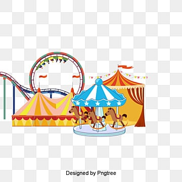 Happy Amusement Park Clown Roller Coaster Merry Go Round PNG