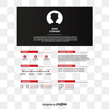 red and black color resume vector png resume curriculum vitae png and vector