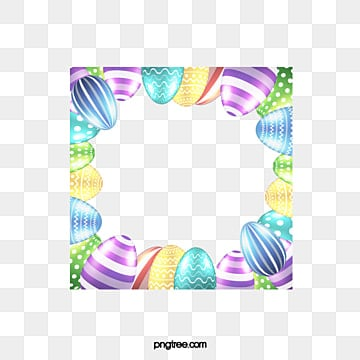 Gorgeous Easter border pattern, Style Galant, Easter, Frame PNG and PSD