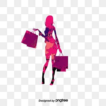 cartoon drawing fashion shopping girl silhouette, Cartoon Vector, Fashion Vector, Shopping Vector PNG and Vector