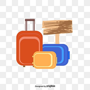 cartoon suitcase with wooden  vector material, Suitcase Clipart, Clipart,  PNG and Vector