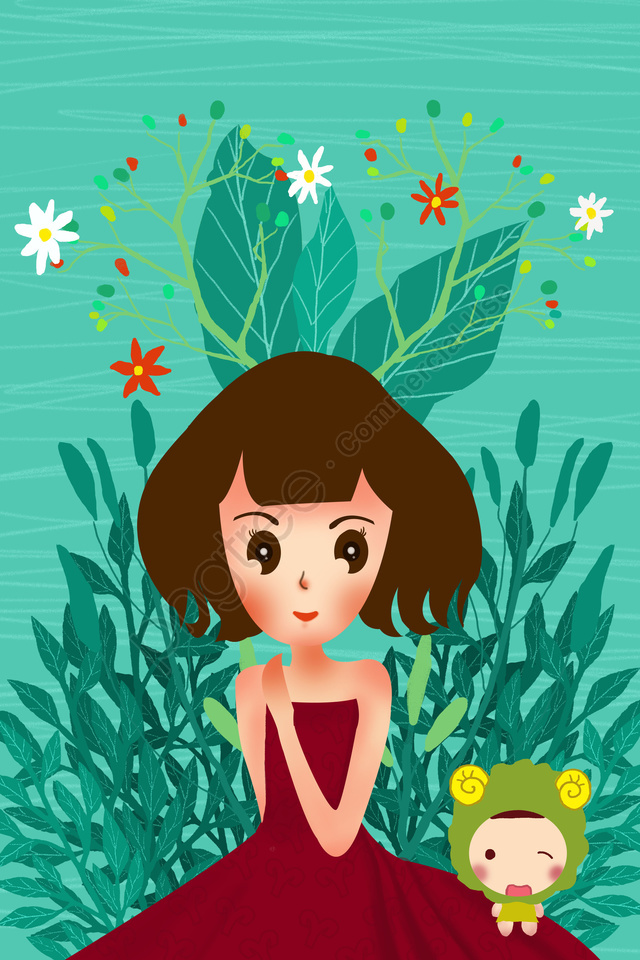 12 constellations constellation aries girl, Green, Flowers, Beautiful llustration image