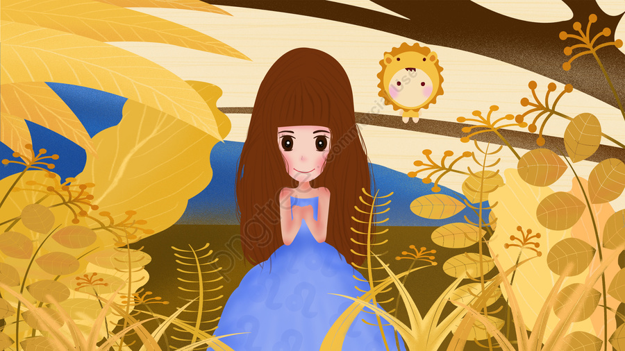 12 constellations constellation leo girl, Yellow, Flowers, Beautiful llustration image