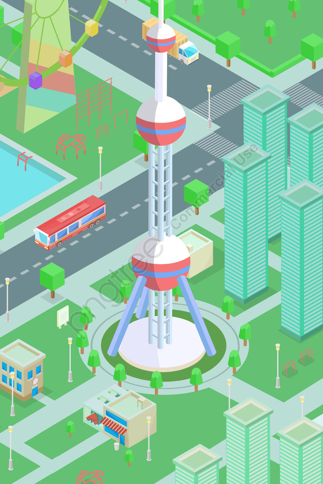 2 5d 3d City Oriental Pearl Tower Illustration Image on Pngtree