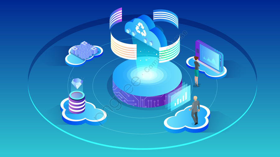 2 5d big data cloud computing data, Analysis, Business, Workplace llustration image