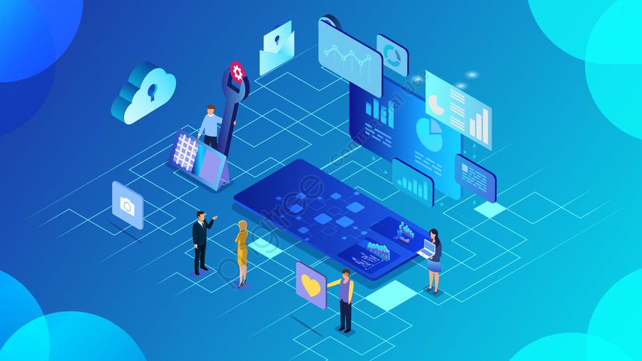 2 5d व्यापार कार्यालय डेटा, प्रौद्योगिकी बादल, बादल, सुविधाजनक llustration image