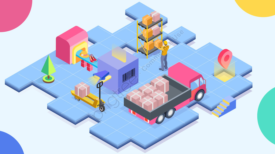 2 5d 신속 배송 운송 배송, 택배, 물류, 트럭 llustration image