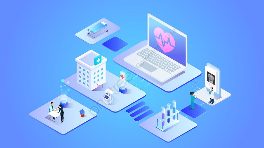 2 5d भविष्य प्रौद्योगिकी कंप्यूटर, ऑनलाइन, चिकित्सा, डॉक्टरों llustration image