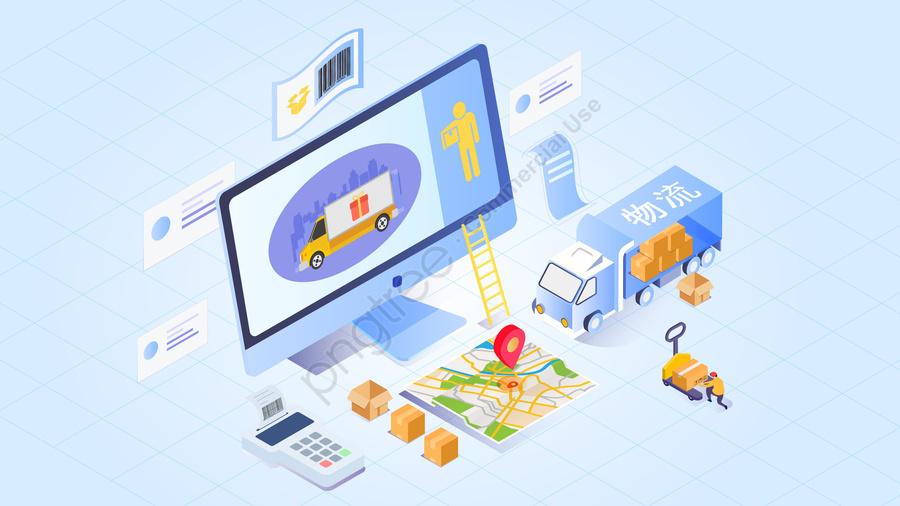 2 5d логистика компьютерная карта, пакет, экспресс   доставки, грузовик llustration image