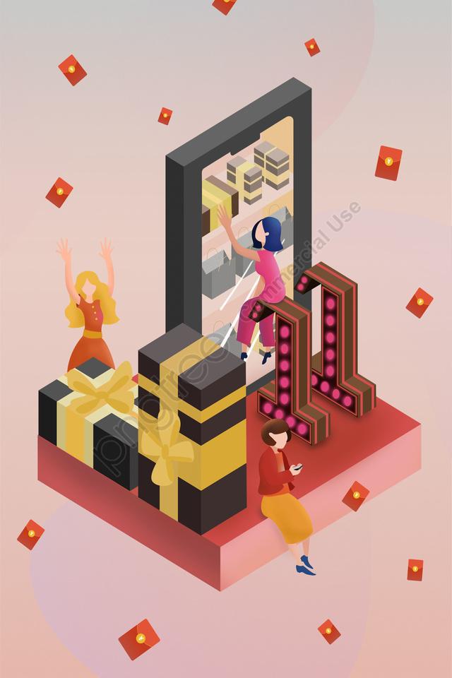 2 5d Pseudo 3d Red Envelope Carnival, Consumption, Red, Celebrate llustration image