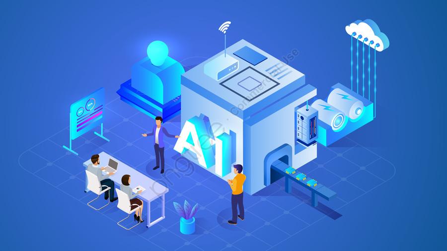 2 5dテクノロジーインテリジェント職場, ビジネス, クラウドデータ, 勾配 llustration image