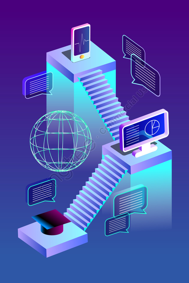 2 5d 기술 기술 감각 계단, 큰 데이터, 위치, 인터넷 llustration image