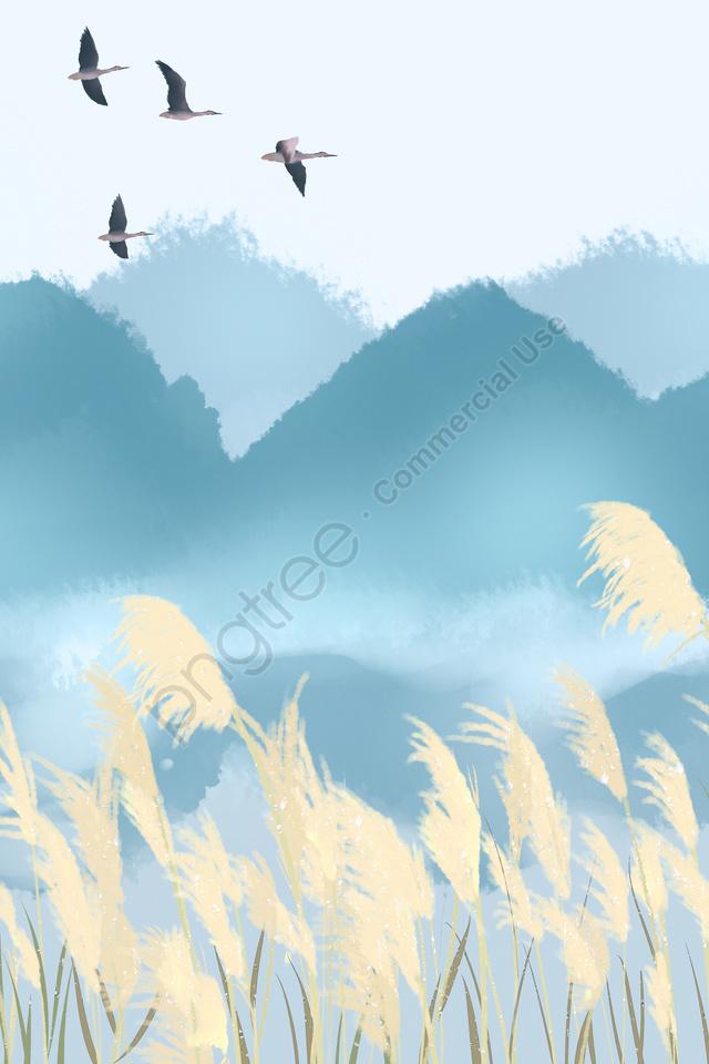 24ソーラーターム24ソーラータームwhite Dew Hongyan, リード, 山, 水彩 llustration image