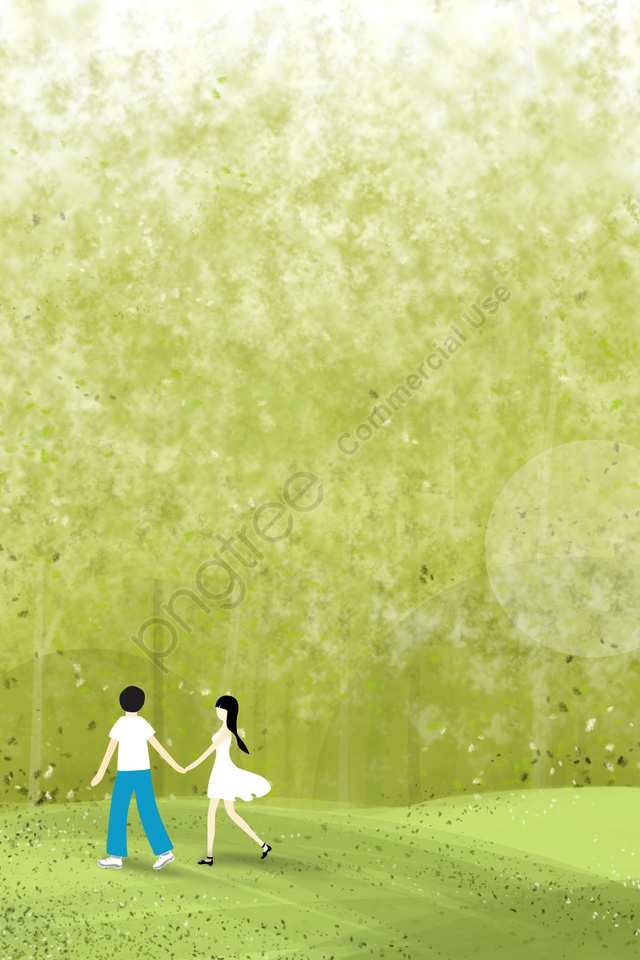 A Couple Holding Hands Walking In The Woods Couple Forest Walking, Green, Fresh, Natural llustration image