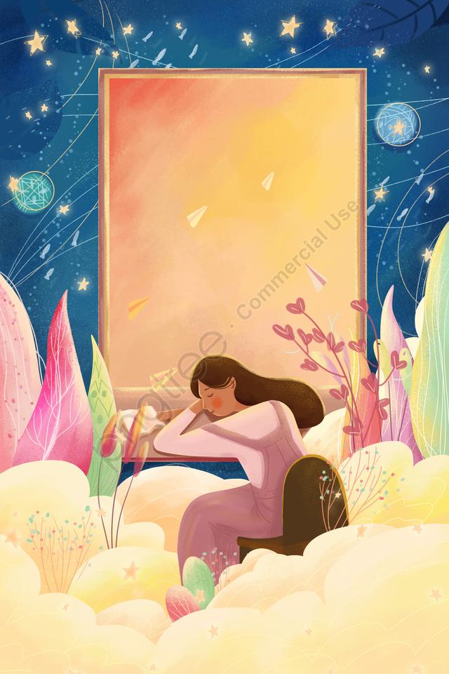 aircraft blue sky little girl, Beautiful Illustration, Cute Illustration, Airplane Illustration llustration image