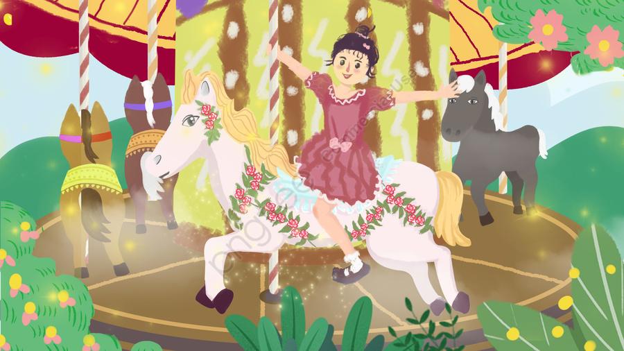 遊園地カルーセル少女幸せ, イラスト, 手塗り, 美しい llustration image