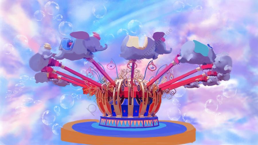 遊園地夢の乗り物バブル, 遊び, 旗, 頭図 llustration image