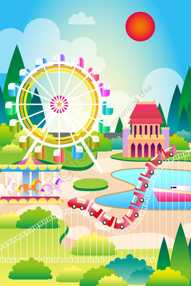 Gambar Ilustrasi Taman Bermain Taman Hiburan Bermain Latar Belakang Bahan Ilustrasi Kanak Kanak