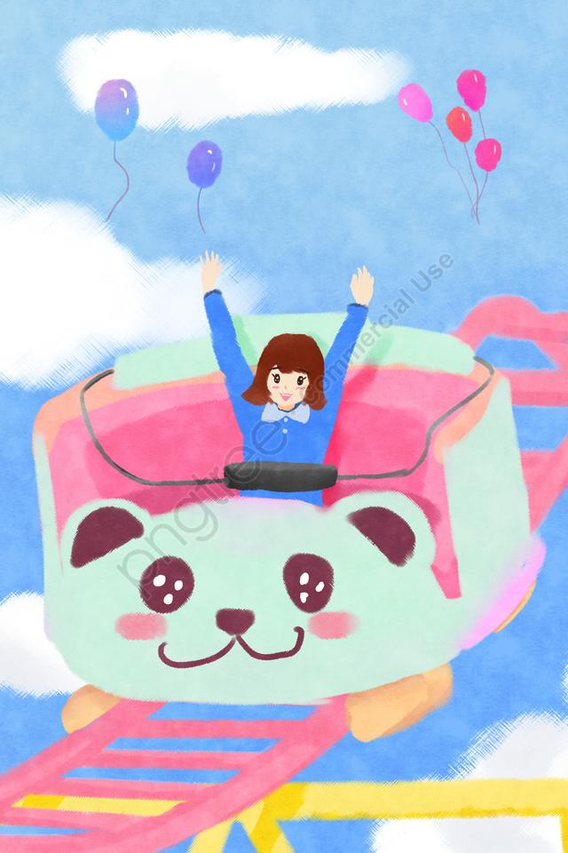 遊園地で遊ぶ子供, ジェットコースター, 遊園地のイラスト, 文学 llustration image